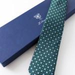 Aniceta Verde, cravatta sette pieghe con confezione