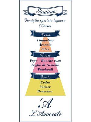 """Piramide Olfattiva """"Stadium"""". Famiglia speziata legnosa. Testa: Pompelmo, Arancio, Silex. Cuore: Pepe, Bacche rosa, Foglie di Geranio, Patchouly. Coda: Cedro, Vetiver, Benzoino."""