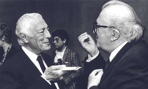 Gianni Agnelli con Federico Fellini nel 1987