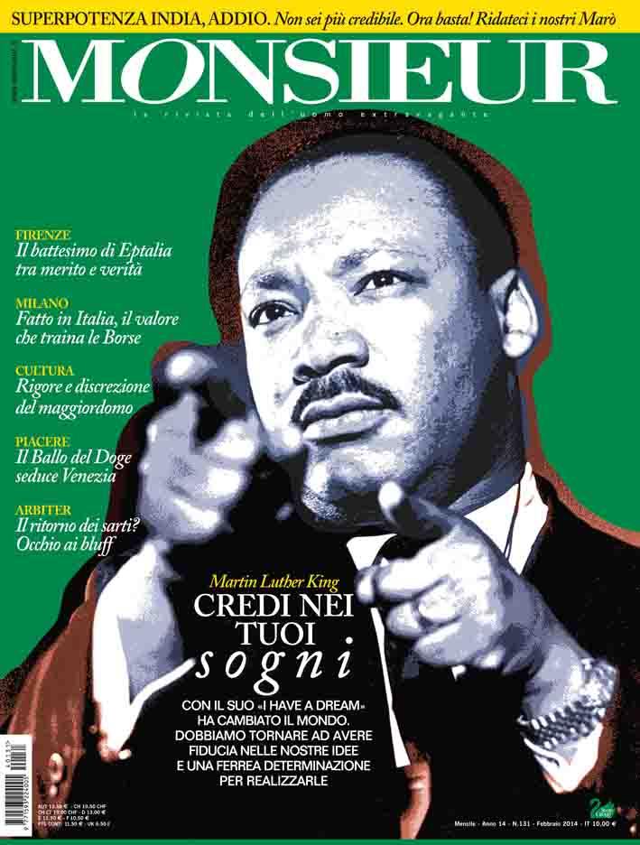"""Monsieur"", la rivista dell'uomo extravagante - copertina n.131 Febbraio 2014"