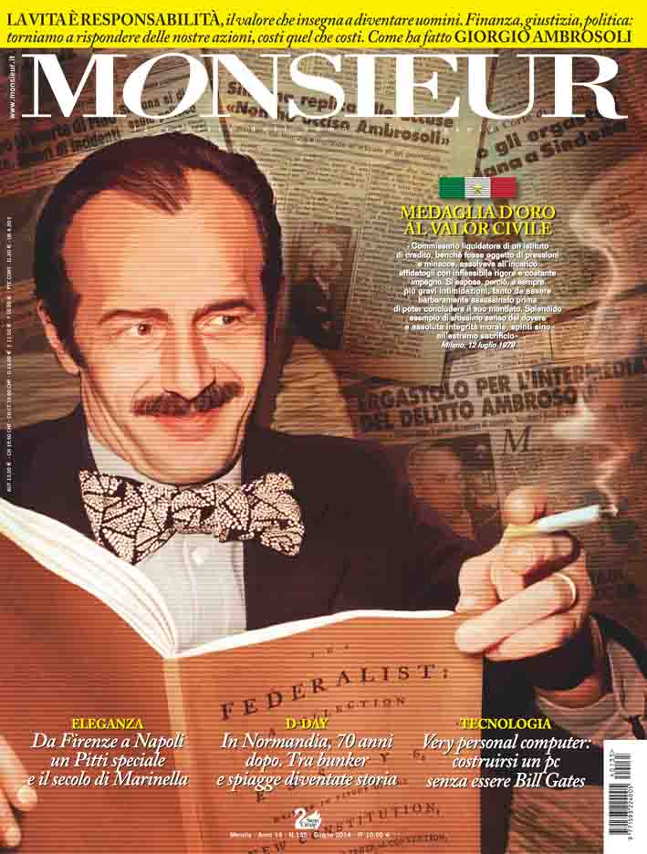 """Monsieur"", la rivista dell'uomo extravagante-- copertina n.135 Giugno 2014"
