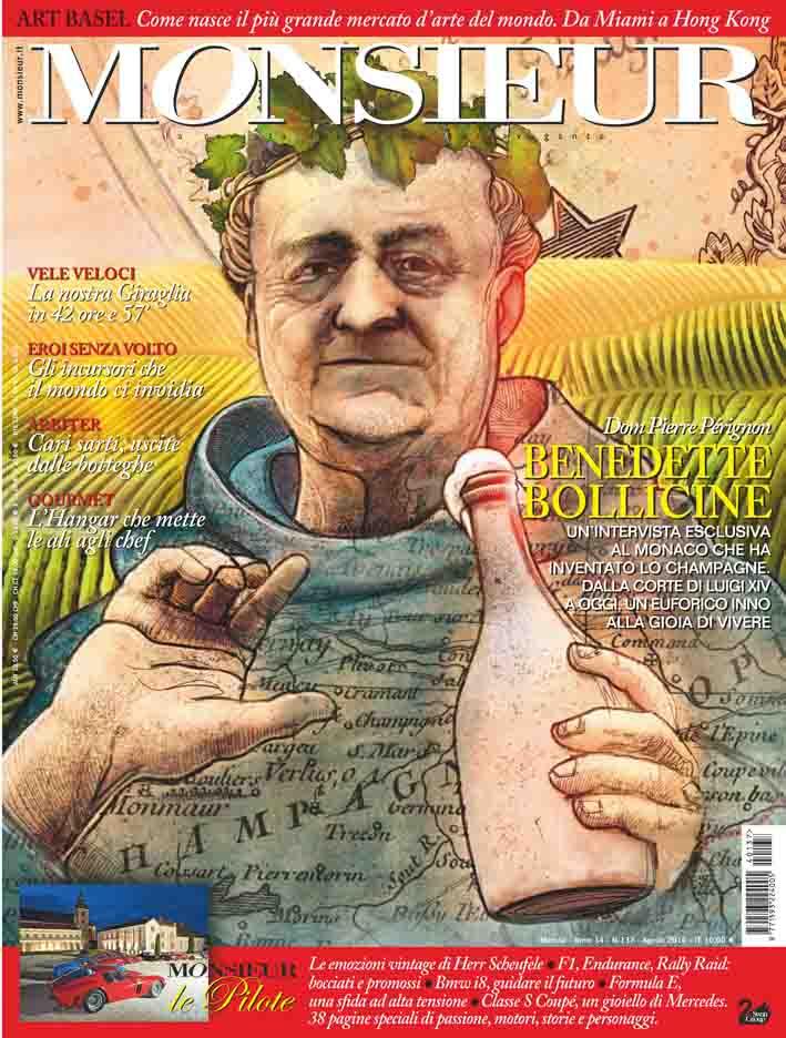 """Monsieur"", la rivista dell'uomo extravagante - copertina n.137 Agosto 2014"