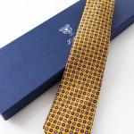 Aniceta Giallo Senape, cravatta sette pieghe con confezione