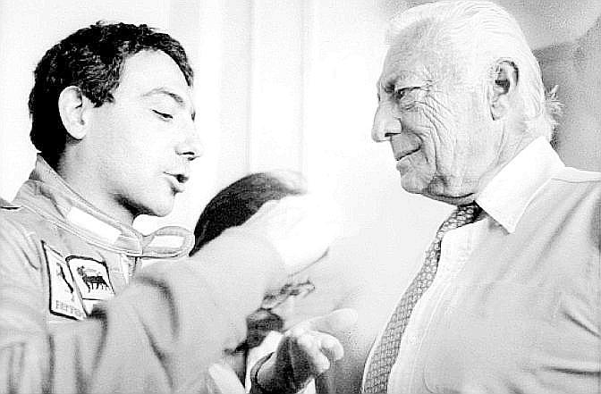 L'Avvocato Agnelli ai box con Michele Alboreto, pilota della Rossa dal 1984 al 1988