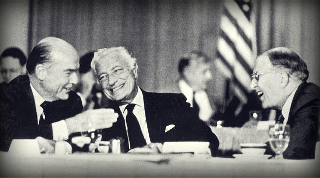 L'Avvocato con F.James McDonald, presidente della General Motors, e Henry Ford II.