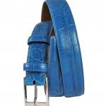 Tardini: Cintura in alligatore , fibbia in ottone con finitura palladio lucido.