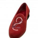 A. Testoni: pantofola in vitello scamosciato.