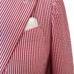 Sciamat: giacca in cotone seersuker a righe bianche e rosse