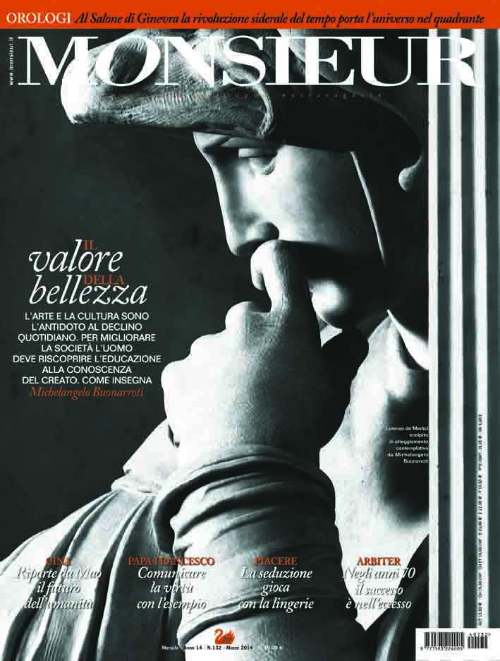 """Monsieur"", la rivista dell'uomo extravagante - copertina n.132 Marzo 2014"