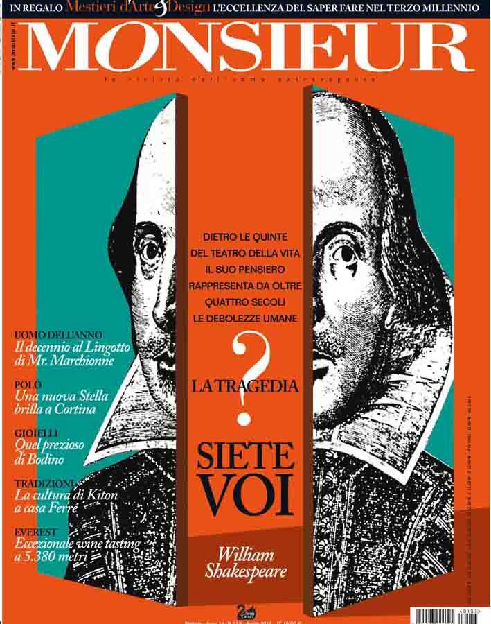 """Monsieur"", la rivista dell'uomo extravagante - copertina n.133 Aprile 2014"