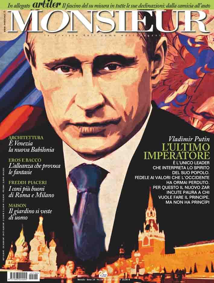 """Monsieur"", la rivista dell'uomo extravagante - copertina n.136 Luglio 2014"