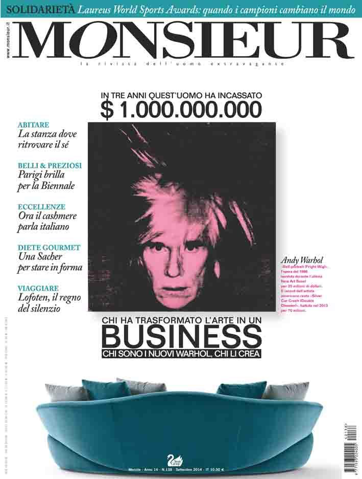 """""""Monsieur"""", la rivista dell'uomo extravagante - copertina n.138 Settembre 2014"""