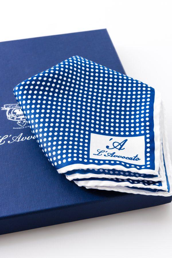 Pocket square MIRAFIORI light blue – L\'Avvocato logo detail