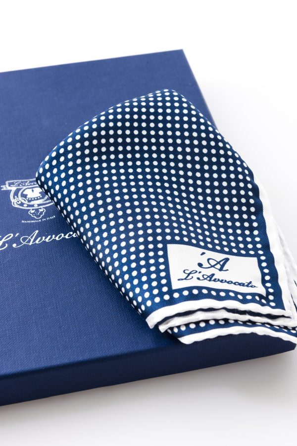 Pocket square MIRAFIORI night blue – L\'Avvocato logo detail
