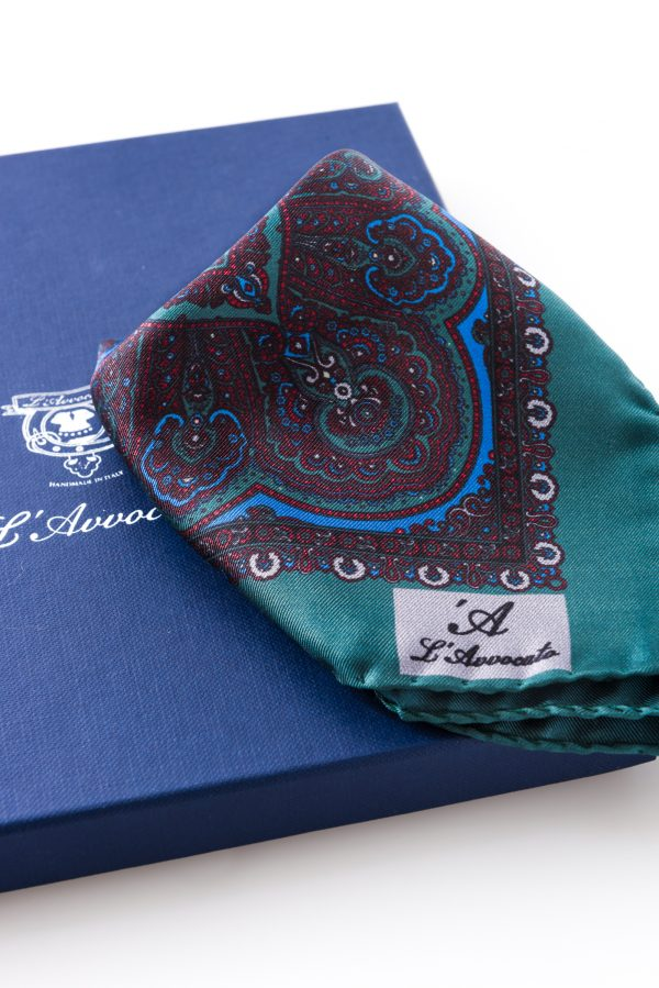 Pocket square MIRAFIORI green – L\'Avvocato logo detail