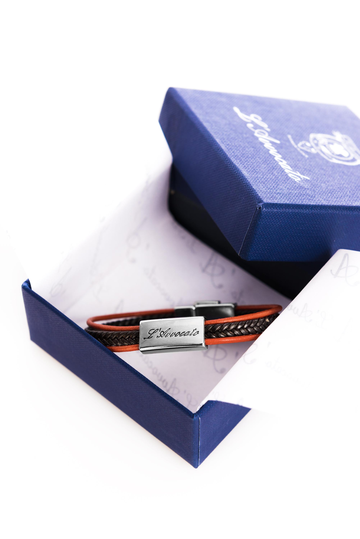 "Vowen black & orange leather bracelet ""Skin"" in its packaging"