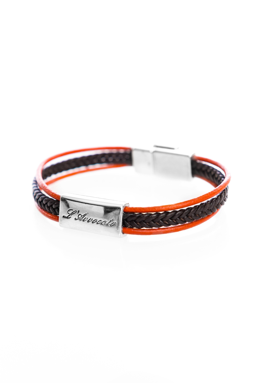 """Vowen black & orange leather bracelet """"Skin""""- L'Avvocato"""