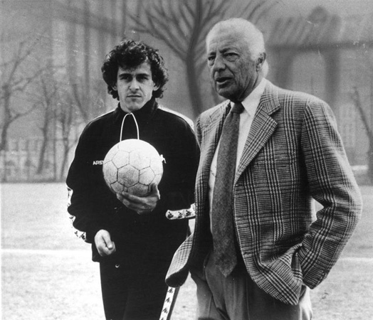 Giovanni Agnelli and Michel Platini in the 80
