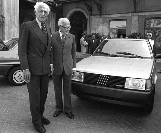 Gianni Agnelli with Sandro Pertini