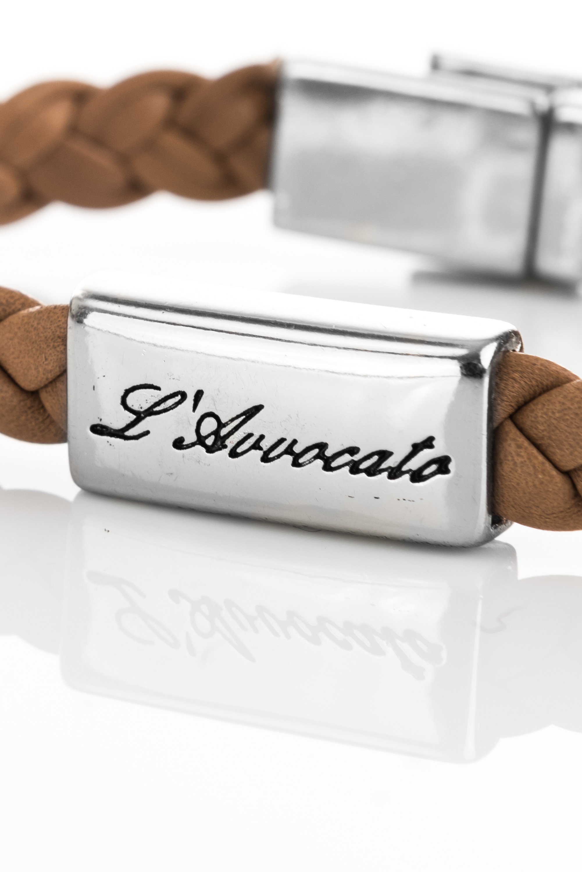 "Vowen brown leather bracelet ""Eddy"" – steel plate branded with L\\\\\'Avvocato detail"