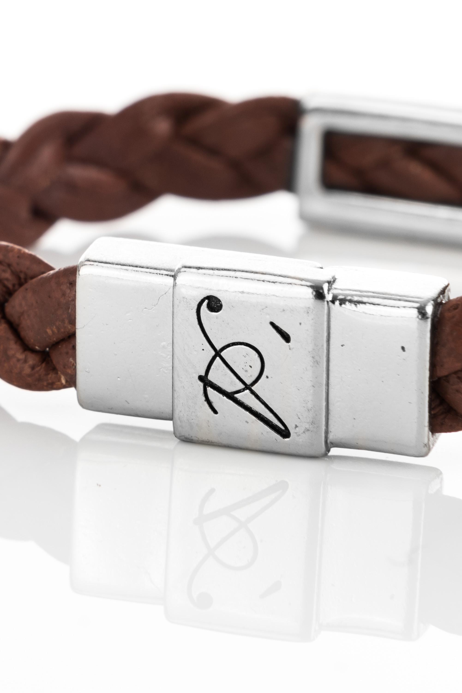 """Vowen dark brown leather bracelet """"Eddy"""" – clasp detail"""