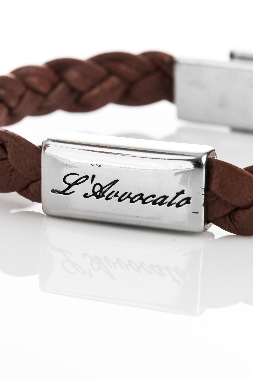"Vowen dark brown leather bracelet ""Eddy"" – steel plate branded with L\\'Avvocato detail"