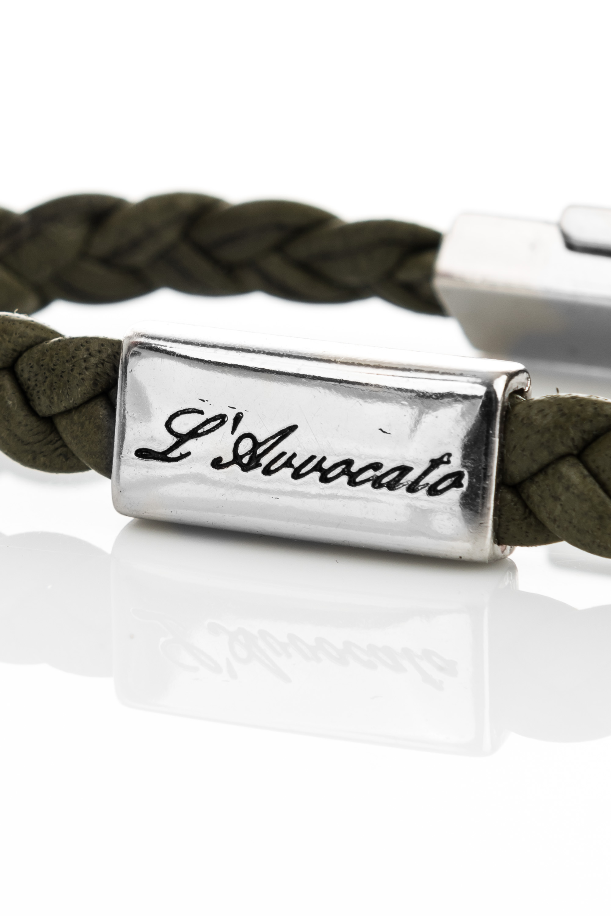 "Vowen green leather bracelet ""Eddy"" – steel plate branded with L\\'Avvocato detail"
