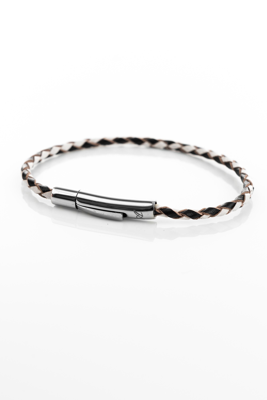 "Vowen black & white leather bracelet ""Skin""- L'Avvocato"