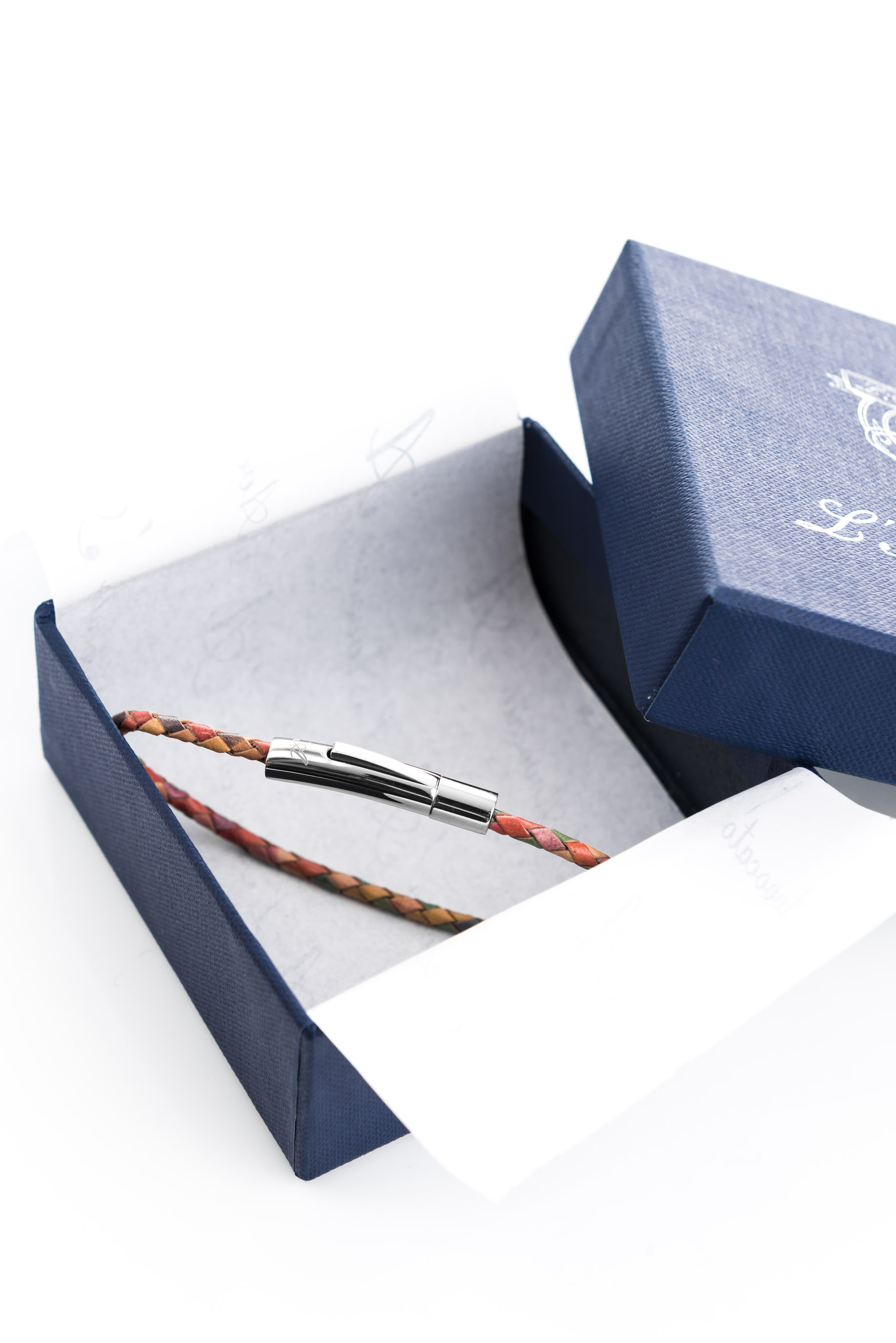 "Vowen multicolor leather bracelet ""Skin"" L'Avvocato in its packaging"