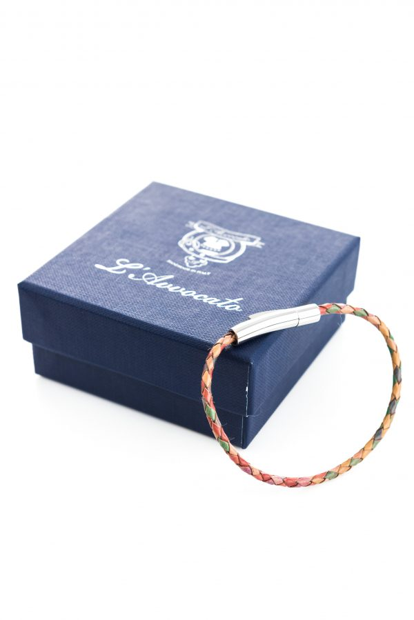 "Vowen multicolor leather bracelet ""Skin"" L'Avvocato and  its packaging"