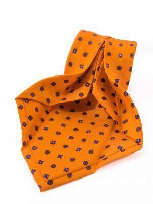 Cravatta Sette Pieghe Marella Arancione Fiamma - dettaglio della lavorazione artigianale