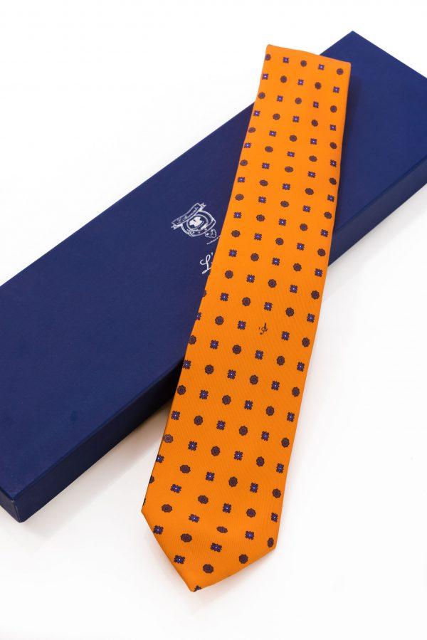 Cravatta Sette Pieghe Marella Arancione Fiamma e confezione