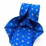 Cravatta Sette Pieghe Marella Blu di Persia - dettaglio della lavorazione artigianale