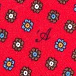 Cravatta Sette Pieghe Marella Rosso Fuoco- dettaglio della microfantasia con monogramma
