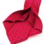 Cravatta Sette Pieghe Marella Rosso Fuoco - dettaglio lavorazione artigianale