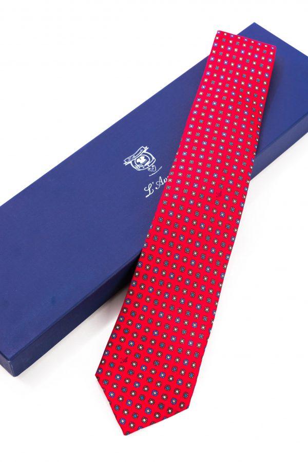 Cravatta Sette Pieghe Marella Rosso Fuoco e confezione
