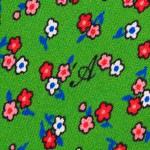 Cravatta Sette Pieghe Marella Verde Pastello Scuro - dettaglio della microfantasia floreale con monogramma