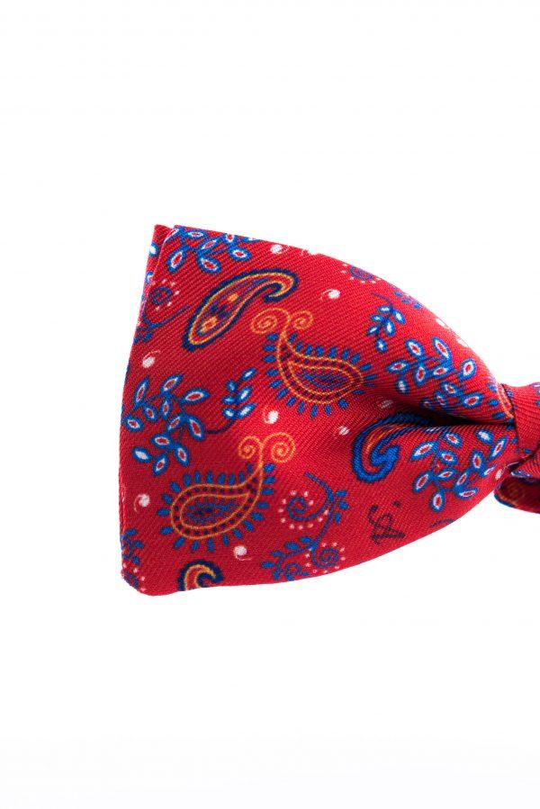 Papillon Tassilo Rosso Traffico - dettaglio microfantasia cachemire